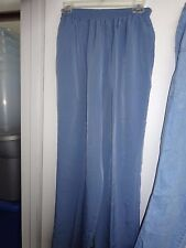 Bon Worth Ladies Off Blue Size Medium Casual Elastic Waist Pants Polyester