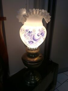 ** Lampada da tavolo abatjour luce ottone vetro firmata vintage Venezia 48 cm **