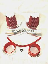 "3.5"" RED Dual Twin Air Intake Induction Kit + Filter For 02-07 DODGE RAM 1500"