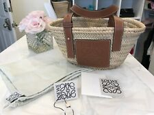 LOEWE Basket Bag Basket Bag Raffia / Calfskin Natural / Brown-Small