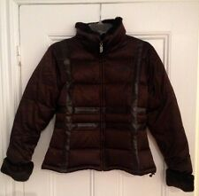 Authentic The North Face 550 brown bomber jacket down faux fur plaid small s