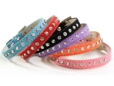 New Adjustable Pet Dog Cat Crystal Rhinestone Cow Suede PU Leather Neck Collar