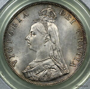 PCGS MS63 1887 GREAT BRITAIN DOUBLE FLORIN ARIBIC 1 IN DATE   (BC95)