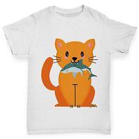 Twisted Envy Girl's Cartoon Cat Shark Funny Cotton T-Shirt