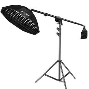 GODOX 95cm Octagon Softbox Bowens Mount + Grid Light Stand Boom Arm For Studio