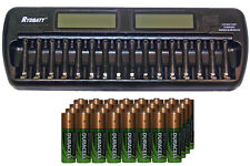 16 Bay AA / AAA LCD Charger + 32-Pack AA 2450 mAh Duracell NiMH Batteries