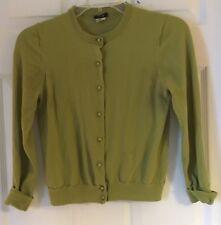 Women J.CREW green Merino Wool Melanie Button Cuff Cardigan Sweater Sz Medium