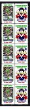 CENTENARY OF RUGBY STRIP OF 10 MINT VIGNETTE STAMPS, CANBERRA RAIDERS, CAMPESE