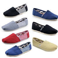 Mens Womens Canvas Plimsoll Loafer Espadrille Shoes Comfy Slip On Casual Flats