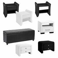 Corium® Ottomane Nachttisch Sitzhocker Sitz Truhe Hocker Schwarz Weiß Kunstleder