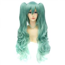 Light Green Womens Cosplay Party Long Curly Wavy Hair Full Wigs + Ponytail
