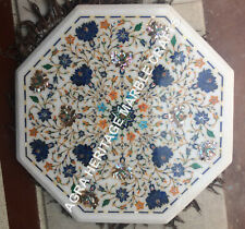 """21"""" White Marble Hallway Table Top Lapis Multi Marquetry Inlay Home Decor H5376A"""