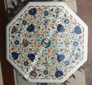"""18"""" Gorgeous Marble Bedroom Coffee Table Top Lapis Multi Inlay Patio Decor H5376"""