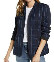 Vince Camuto NEW Plaid Blazer Size 12 Navy Blue Poly Rayon Classic Jacket Womens