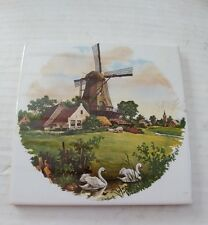 """Vintage Mosa Holland 6"""" Tile Windmill in Color"""