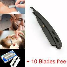 Stainless Steel Handle Straight Edge Barber Razor Folding Shaving Knife 10 Blade