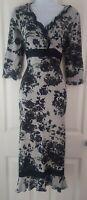 Womens Per Una Dress M&S size 10 tall midi grey black floral stretch casual vgc