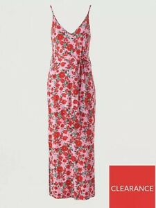 V By Very Womens Strappy Belted Beach Midi Dress Pink Floral 10 BNWT