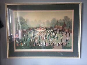Lovely Framed & Signed Helen Bradley Print The Fair At Daisy Nook Rare