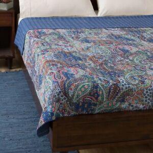 Indian Vintage Quilt Kantha Paisley Bedspread Cotton Blanket Ralli Gudari