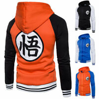 Mens Dragon Ball Z Son Goku Hoodie Jacket Coat Zip Up Sweatshirt Cosplay Costume