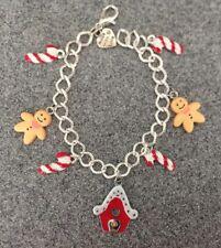 Gingerbread Man Handmade Christmas charm bracelet silver plate stocking filler