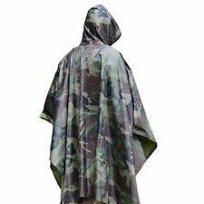 Camping Hiking Military Poncho Sports Woodland Camo Ripstop Wet Weather Rain