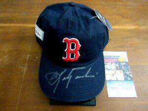 CARL YASTRZEMSKI BOSTON RED SOX HOF SIGNED AUTO BOSTON HEAD CAP HAT JSA BEAUTY