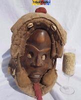 WAS $1,775 - Tribal African Art Feather Headdress Mask Figure Sculpture Statue