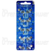 10 x Renata 321 Silver oxide batteries 1.55V SR616W Watch SR65