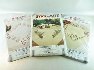 3 x Tischdecke Stickpackung Stick-Art Weihnachten zum Sticken 80 x 80 cm
