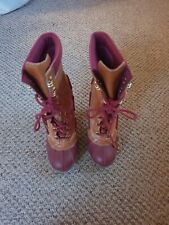 Michael Kors Tan & Pink Leather Lace Up Boots Size 4