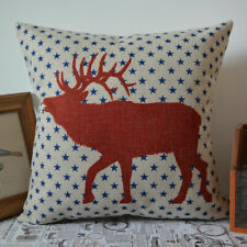 Red Deer Stag Cushion Cover, Blue Stars, New, Christmas