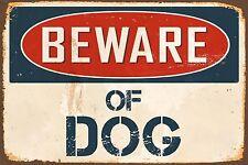 "Beware Of Dog 8"" x 12"" Vintage Aluminum Retro Metal Sign VS468"