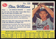 1962 POST CEREAL CANADIAN BASEBALL #115 STAN WILLIAMS EX-NM L A Dodgers Card