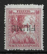 FIUME ITALY Mint Hinged 40 F Carmine INVERTED OVERPRINT Unchecked