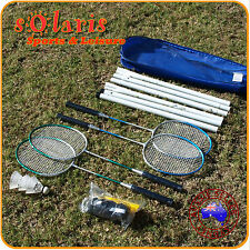 Portable 4-Player Badminton Set with 4x Aluminum Rackets 3x Shuttles+Net & Post
