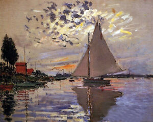 Claude Monet Sailboat On The Coast Impressionist Painting Real Canvas Art Print