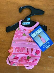 """CASUAL CANINE Pink """"Fruitbowl"""" Print Bathing Suit Dog Pet Fashion sz XX-Small"""
