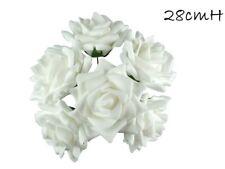 2x 6 Heads White Roses Bouquet Artificial Flower Wedding Rose Flower Decor