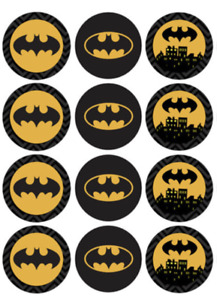 12 x LARGE Edible Cupcake Toppers - WAFER - Batman #1 - Birthday Party
