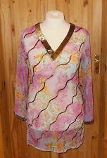 MASTI pink blue orange gold floral chiffon kaftan tunic top beach dress 12-14