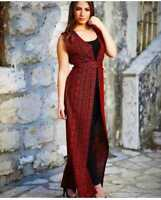 Woman Traditional short Sleeve Embroidered Abaya Dress Arab  Jordan Palestine