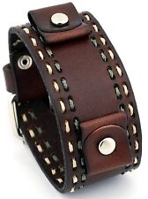 Nemesis DBDT Dark Brown Wide Leather Cuff Wrist Watch Band with Stitching