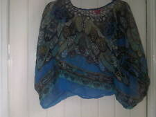 Sugar 17 Blue patterned sleeveless top, one size