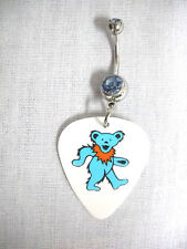NEW GRATEFUL DEAD DANCING BEAR BABY BLUE ORANGE PRINTED GUITAR PICK BELLY RING