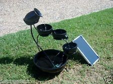 SOLAR PANEL POWERED DC PUMP BLACK 4 TIER CASCADING CORDLESS WATER FALL FOUNTAIN