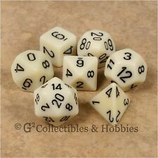 NEW 7pc Set Ivory w/ Black RPG D&D Game Dice in Box Chessex 7 piece D20 D12 +