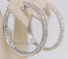 Ladies Diamond Hoop Earrings in 14k White Gold