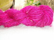 Recycled Sari Silk Yarn - Hot Pink Color - Handspun - 100 Gms 1 Hank - Free Ship
